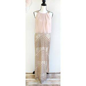 Vince Camuto Blush Maxi Dress Sequins Rhinestones